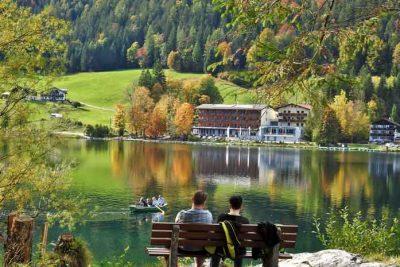 Green Mirror Lake Hintersee in Berchtesgadener national park.