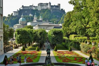 Salzburg Castle view from Mirabel Garden.