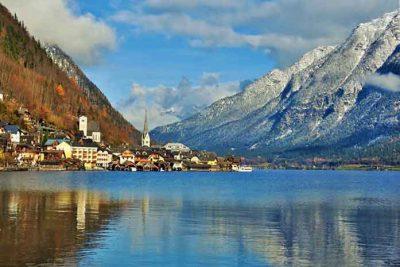 The extraordinary village Hallstatt at lake Hallstaetter See.